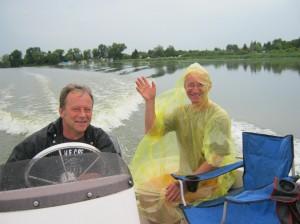Auf dem Rettungsboot nach Unfall auf der HAvel