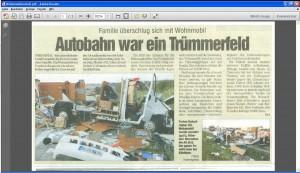 Mobil-home sur l'A4 dans un accident de l'Allemagne
